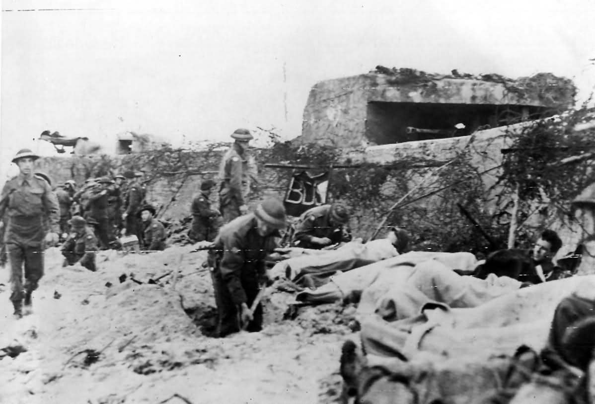 Wounded Canadian Soldiers on Juno Beach D-Day