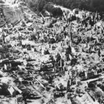 Aerial view after bombardment of Vire 1944