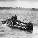 USS LCI(L)-85 just before sinking off Omaha Beach on D Day