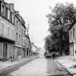 Street scene in Sainte-Mère-Église inland from Utah Beach on 10 June 1944
