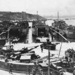 Troops load LSTs at Brixham England for D-Day Invasion 1944