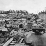 Wreckage of American and German Tanks off D-Days Utah Beach Normandy June 1945