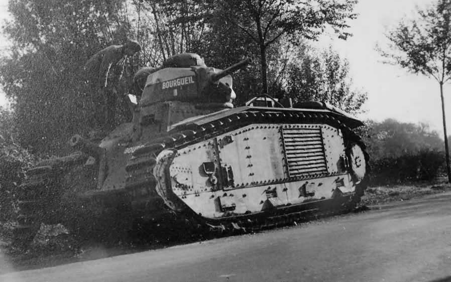 B1 bis tank #355 of the 28th BCC named BOURGUEIL