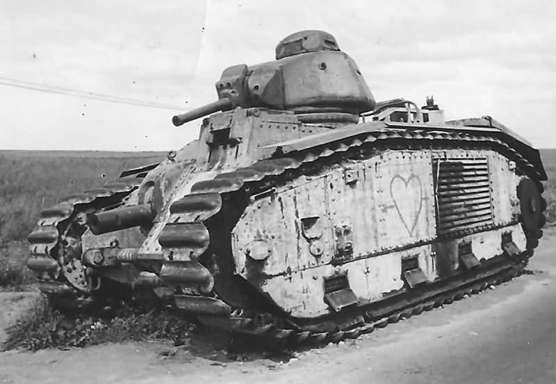 B1 bis tank abandoned at the side of the road somewhere in France after the german attack in May 1940