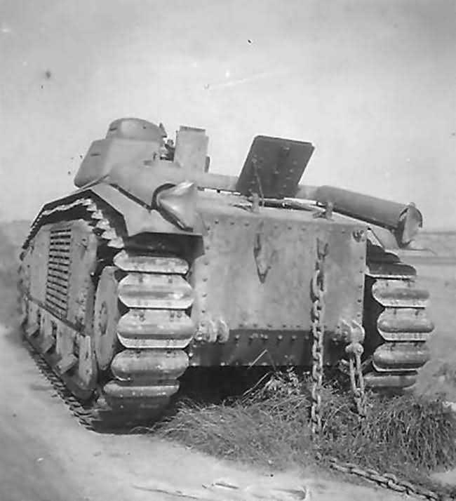 Char B1 bis abandoned by the roadside, rear view