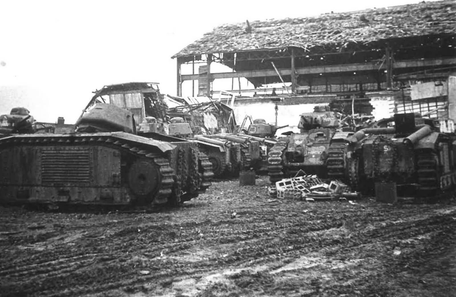 Destroyed B1 bis tanks