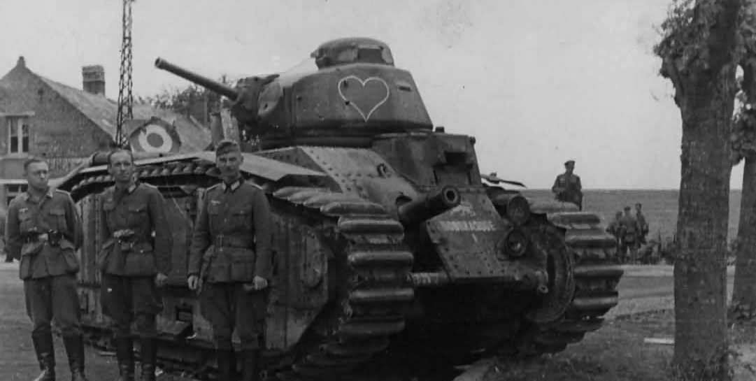 French Char B1 bis tank and Wehrmacht soldiers