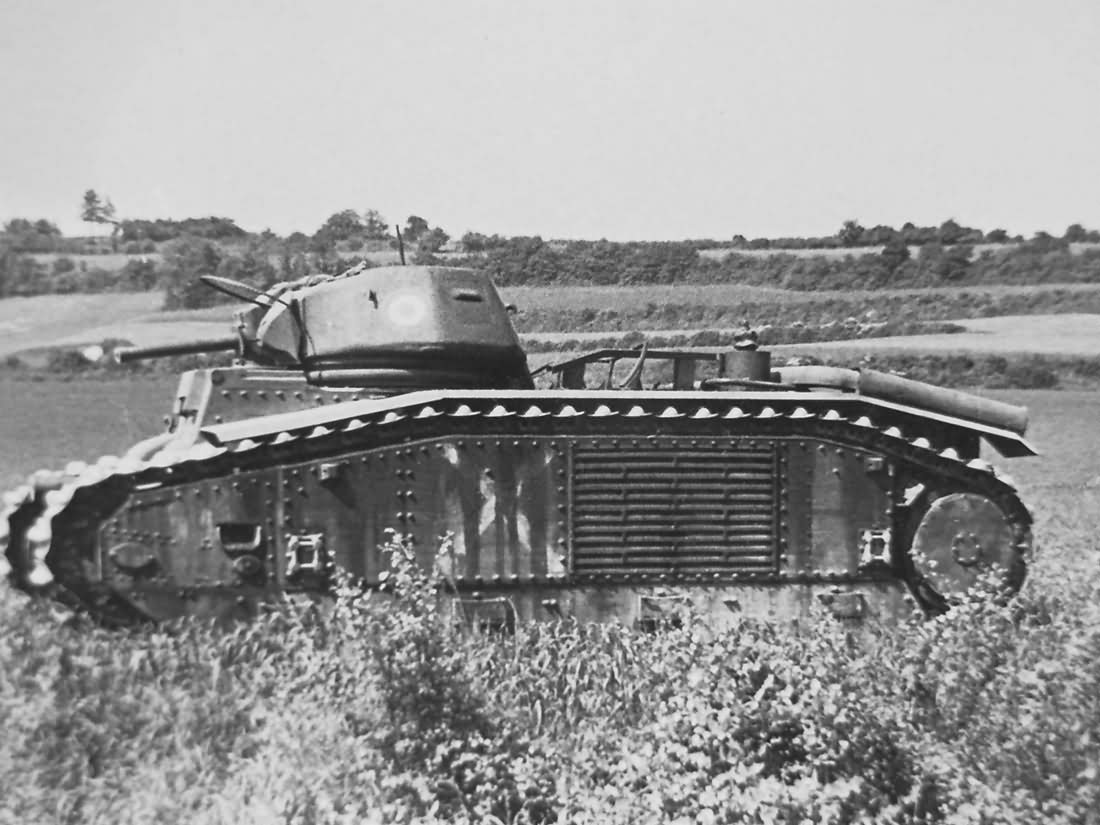 abandoned Char B1 bis tank side view