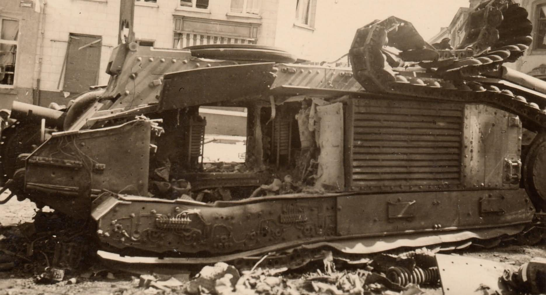 French Char B1 bis tank destroyed 1940