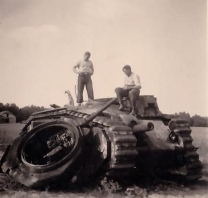 French Char B1 bis tank destroyed by internal explosion
