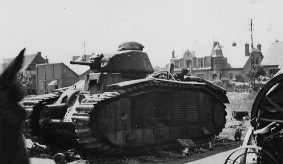 knocked out Char B1 bis tank 1940