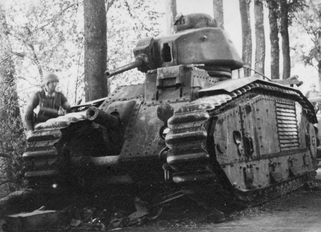 knocked out Char B1 bis tank front view