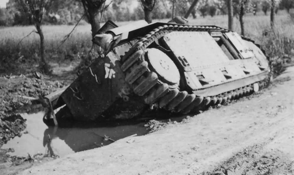 knocked out Char B1 bis tank rear view