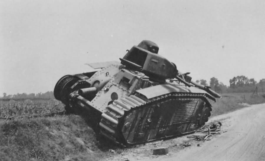 knocked out french Char B1 bis tank