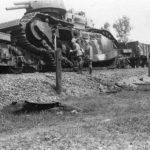German soldiers examines the wreckage of a Char 2C 98 2