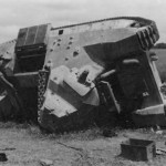 Knocked out FCM36 tank