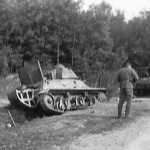 Hotchkiss H39 tank abandoned at the side of the road somewhere in France after the german attack in May 1940