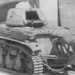 Renault R35 tank equipped with the trench crossing tail