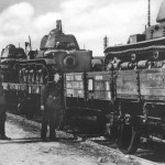 Renault R35 tanks on railroad flat cars