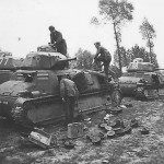 Somua S35 tanks after capture by German forces in France, Summer 1940