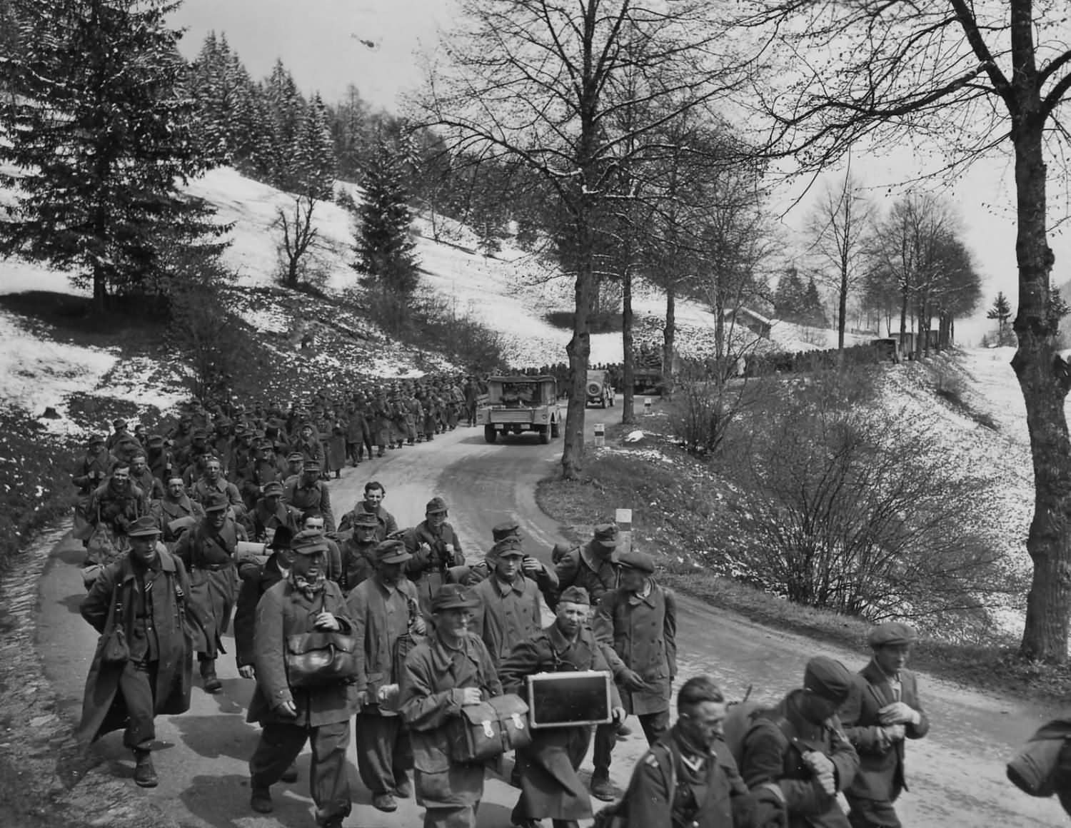 103rd Infantry Division with Captured German Soldiers Auland Austria May 1945