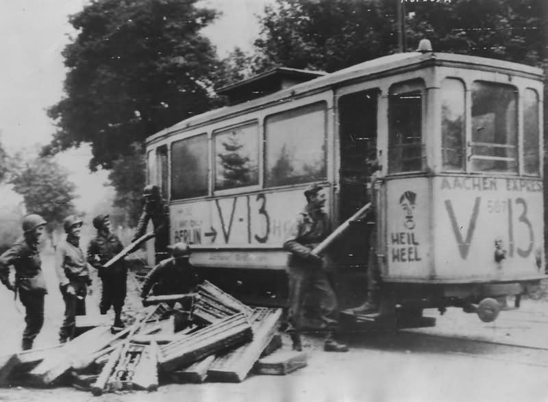 Aachen tram V13 Siegel Raerener Robert Schuman Str. 1944