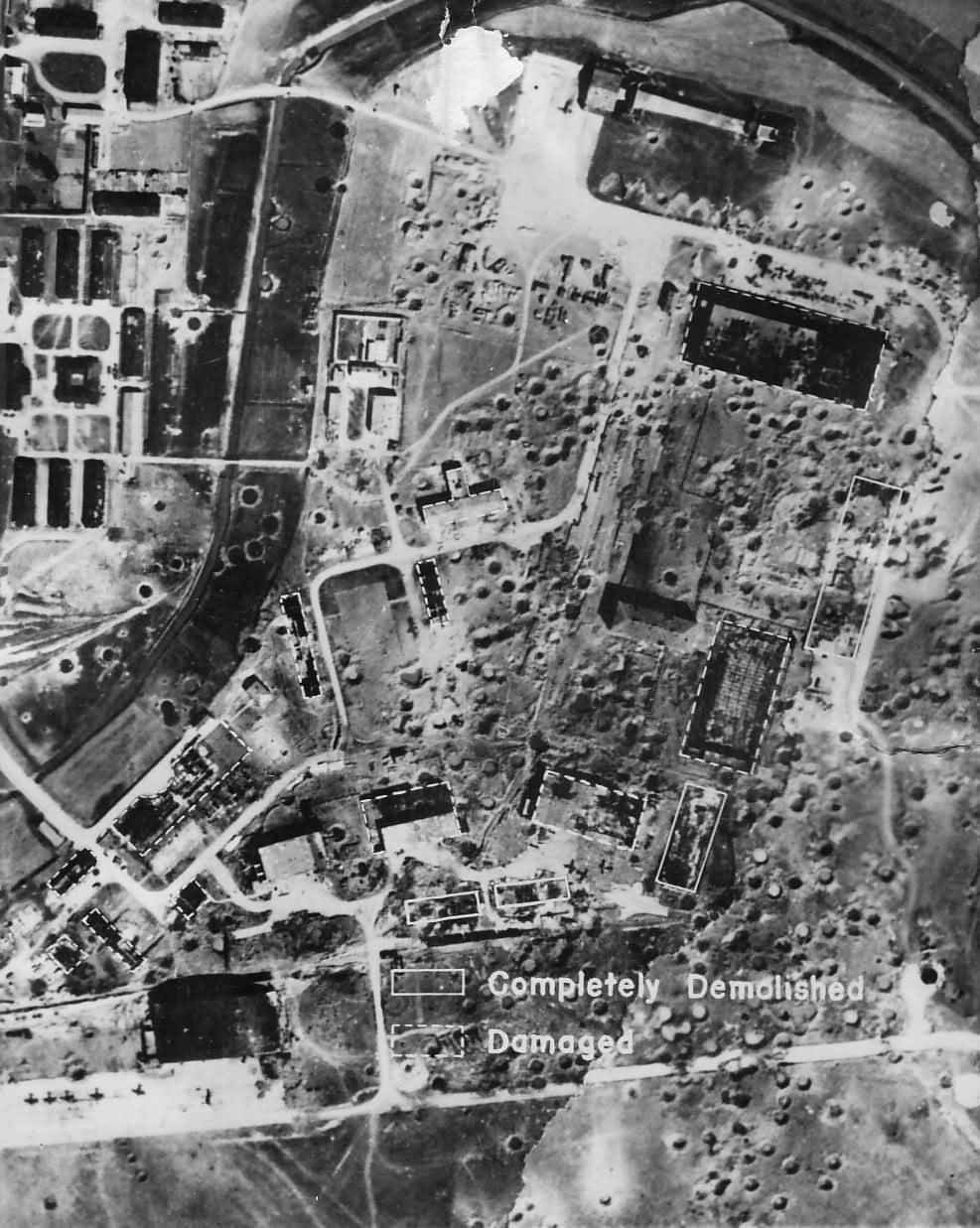 Aerial Photo Bombed Focke Wulf Factory at Marienburg Germany