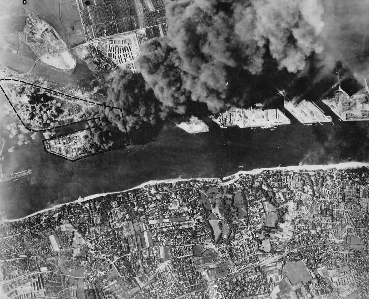 Aerial Photo Bombed Oil Refinery in Hamburg Germany On Fire 1944