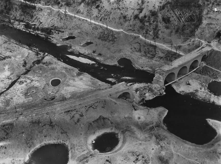 Aerial view Arnsberg destroyed viaduct Hustener Strasse March 1945