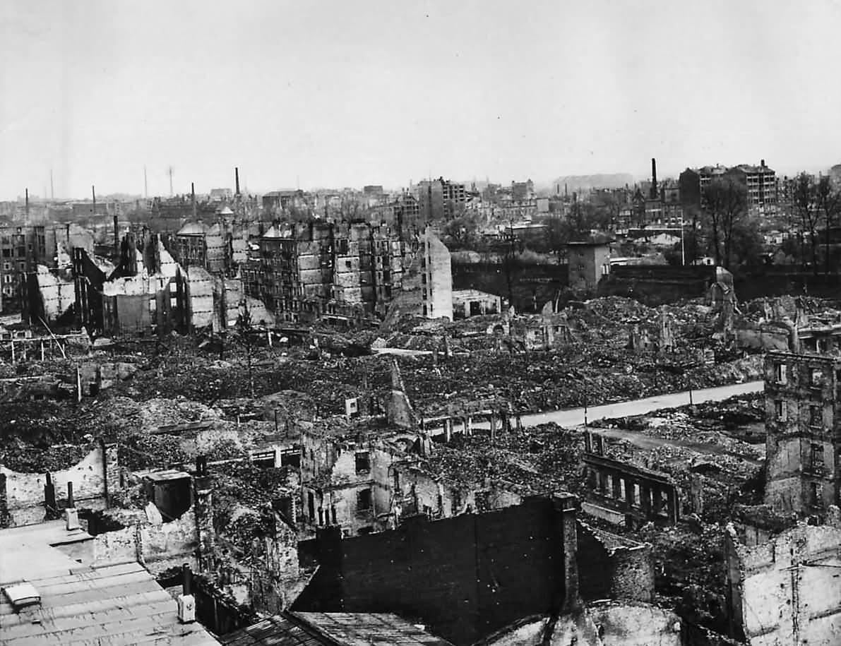 Aerial view of the bomb shatterd ruins of Hamburg 1945
