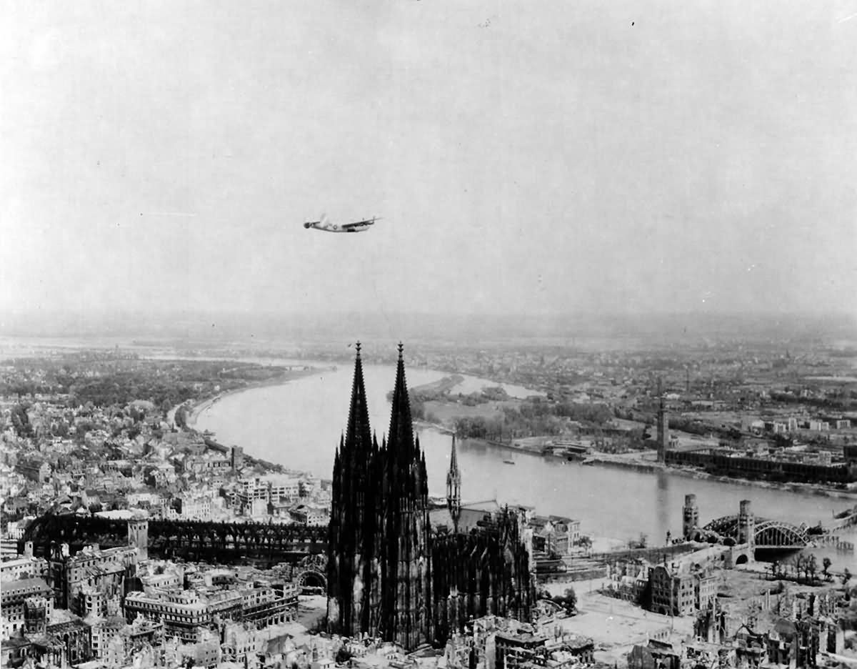 B-24 over ruins of Köln (Cologne) 1945
