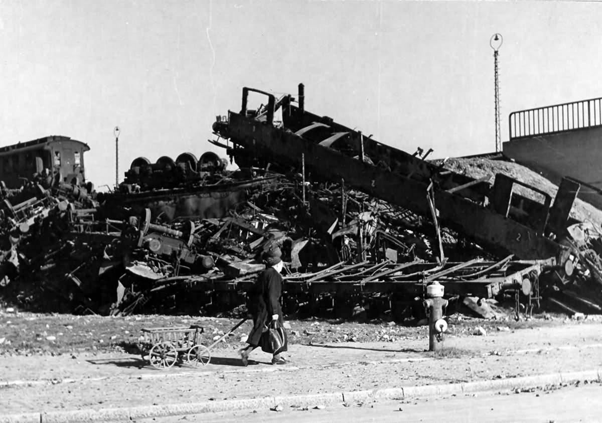 Blasted Railroad Cars At Frankfurt Germany 1945