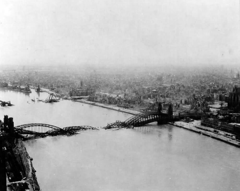 Bombed Hohenzollern Bridge Köln (Cologne)