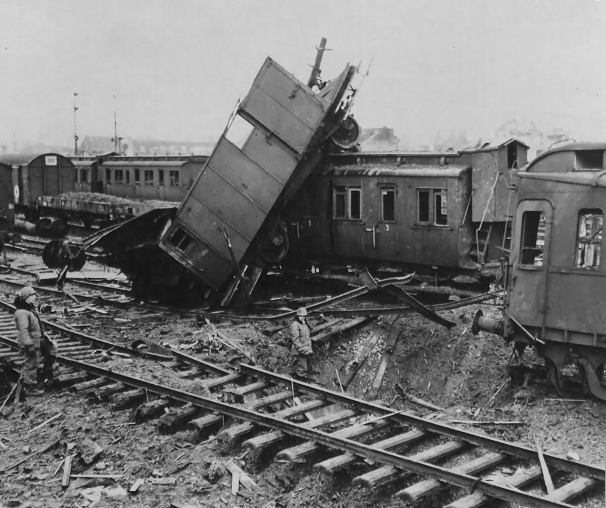 Bombed Railroad Yard Near Köln
