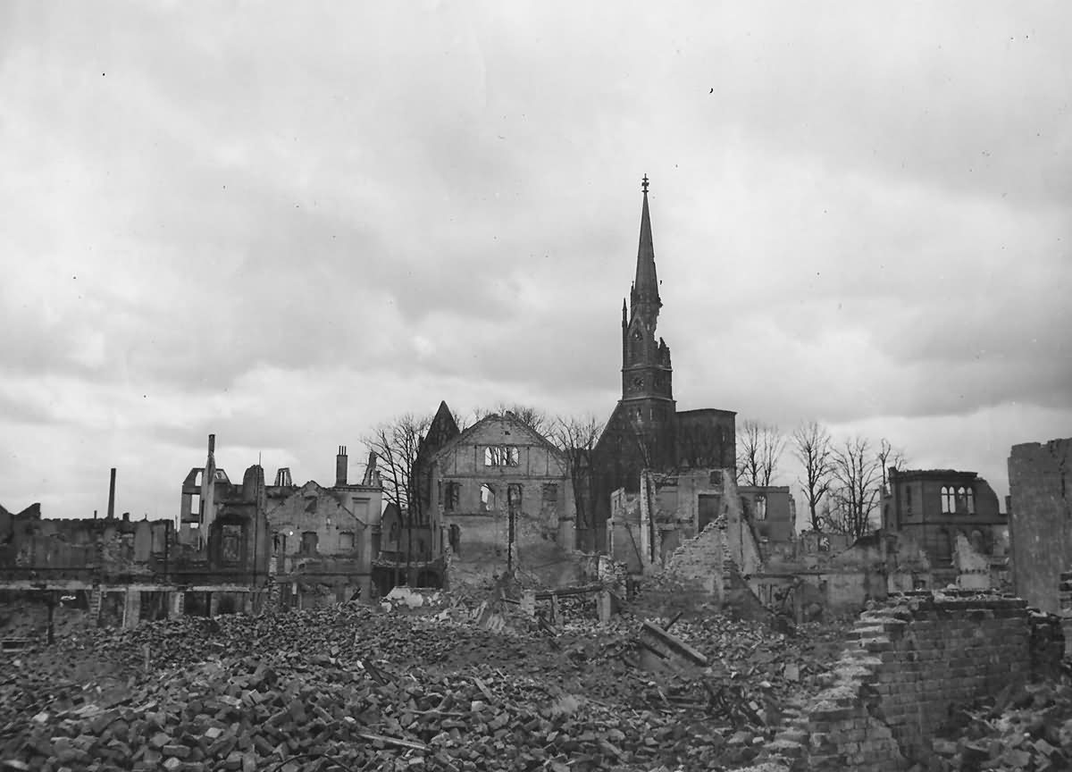 Bombed Shelled Ruins Of Bremen Germany 1945