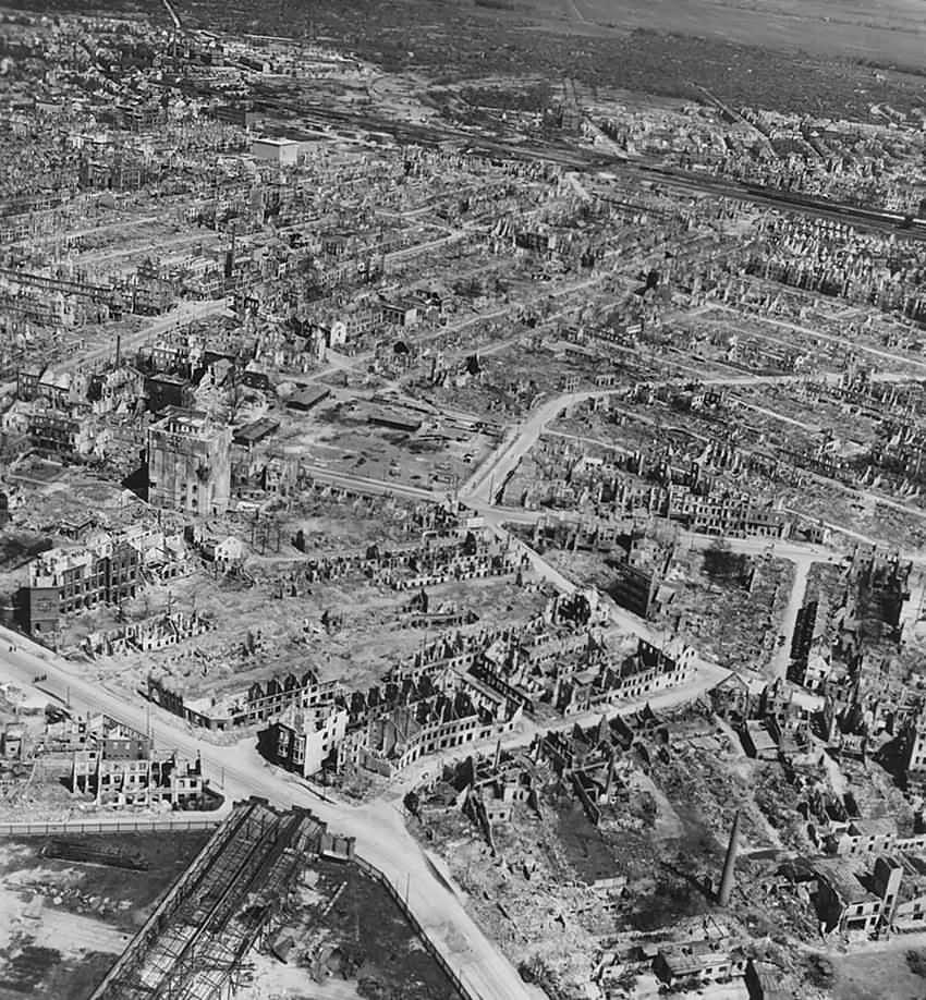 Bremen Aerial View Hochbunker F97 Hans Bockler Strasse 1945