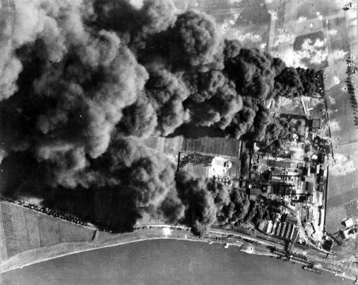 Burning Monheim oil refinery located between Cologne and Dusseldorf.