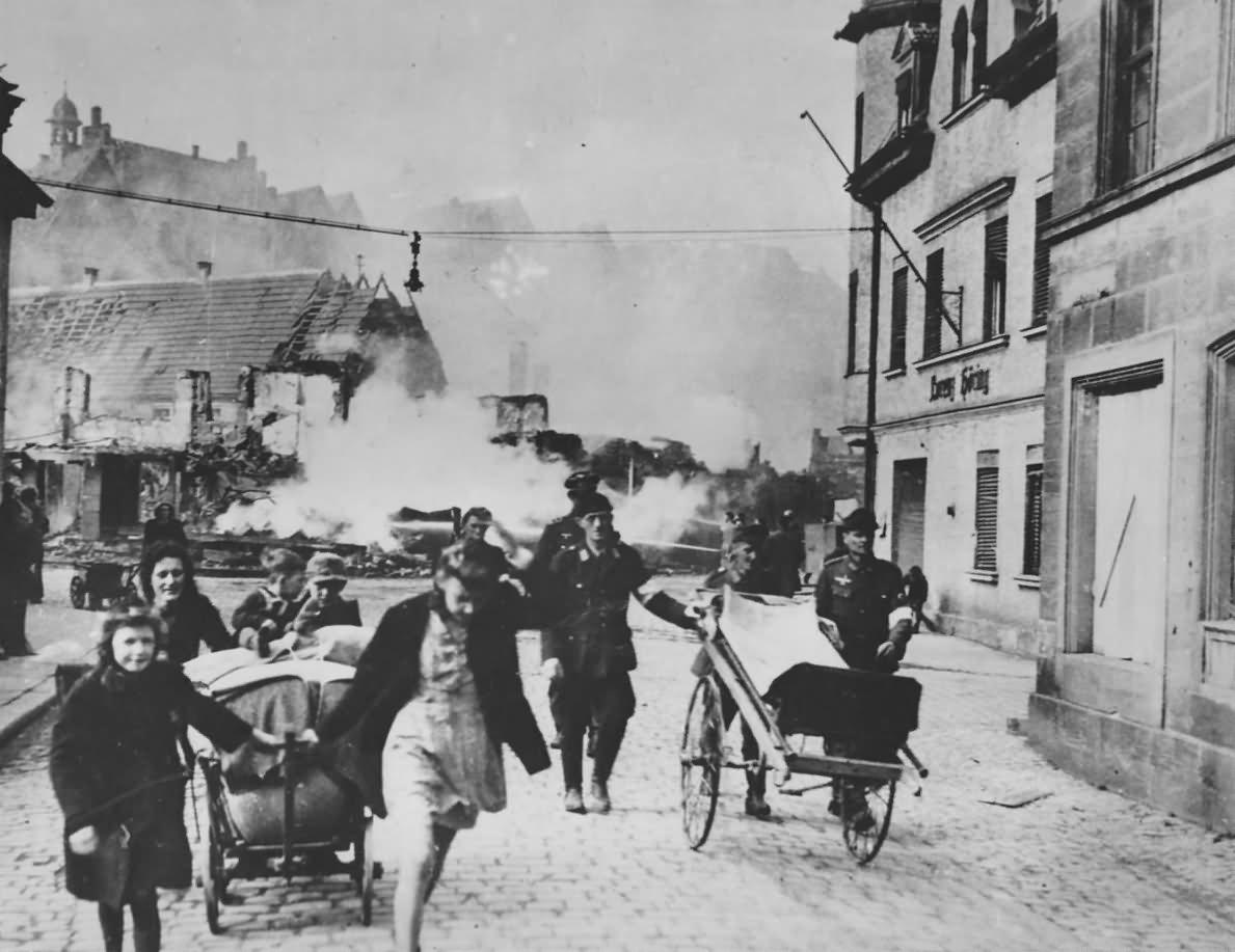 Civilians Leave Kronach Before 11th Armoured Division Arrive 27 April 1945