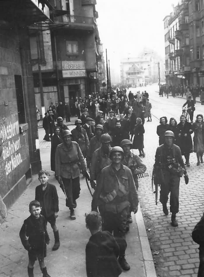 Civilians Watch US Army 3rd Army Troops Move thru Frankfurt 1945