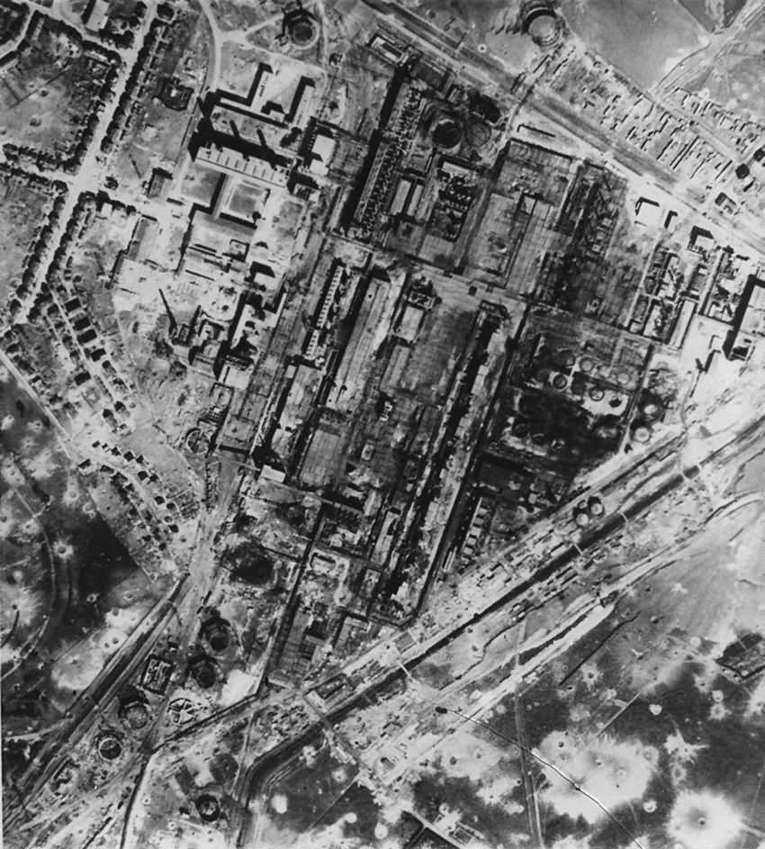 Gelsenkirchen West Aerial view Olraffinerie Johannastrasse December1944