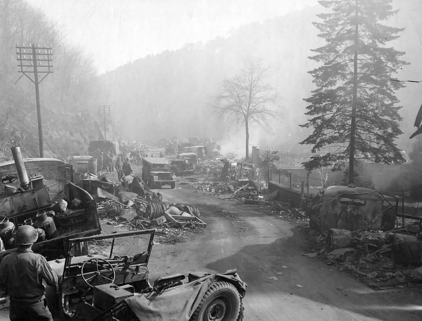 German Trucks Wrecks On Road Durkheim Germany 1945