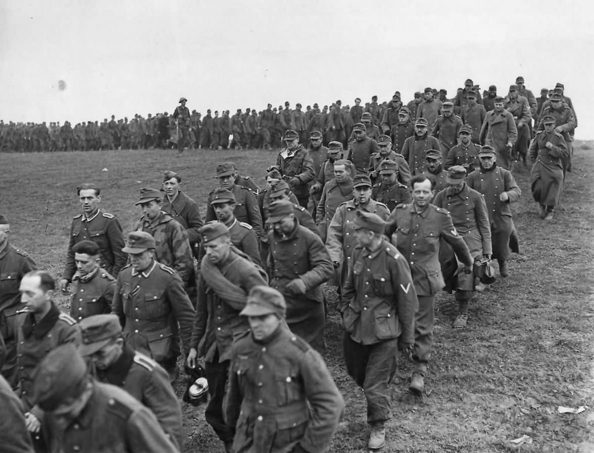 Group of German Soldiers Captured by Allies in Germany 1945