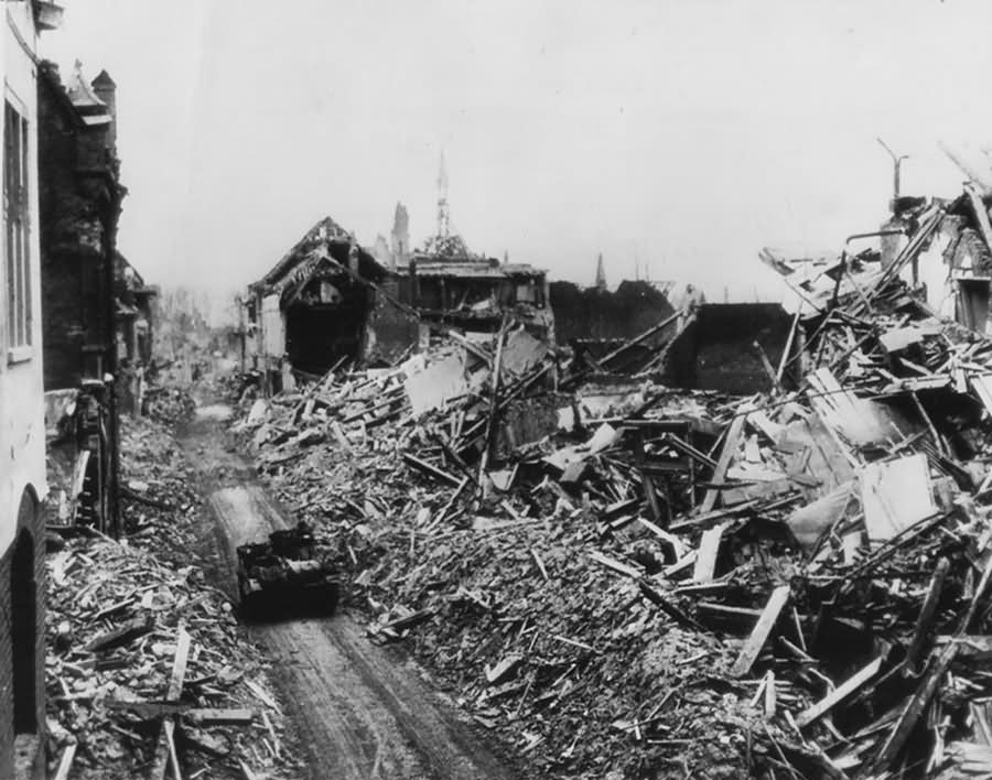 Kleve ruins and British Bren Gun Carrier 1945