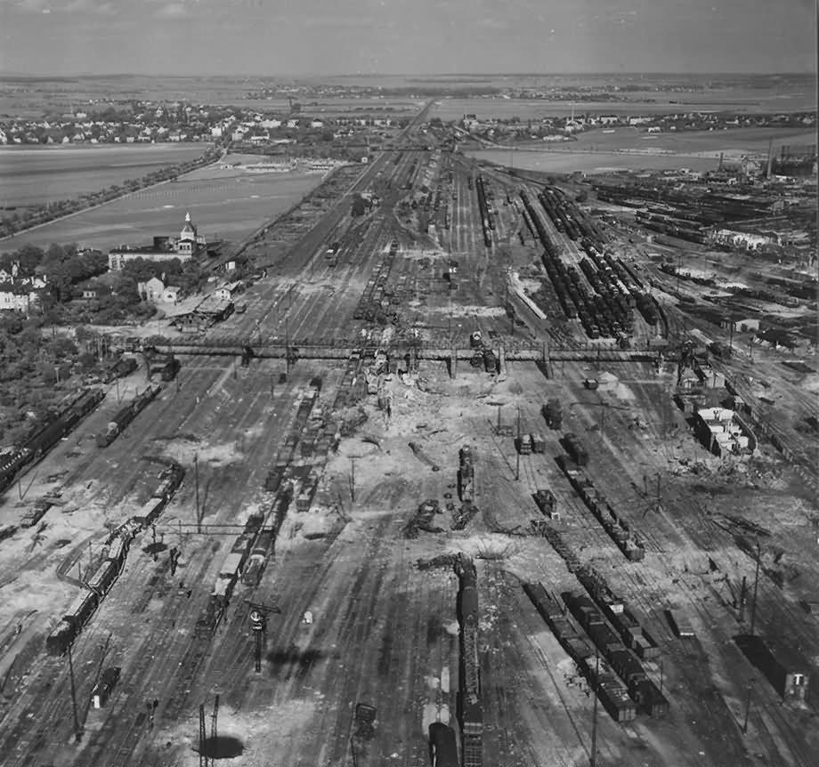 Leipzig Aerial View Paunsdorf Engelsdorf Freight Yard 1945