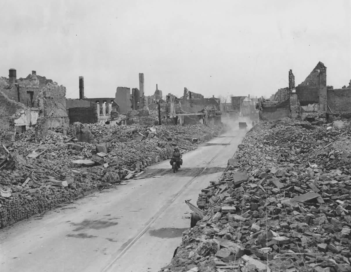 Main Street in Emmerich Canadians 21st Army Bike 1945