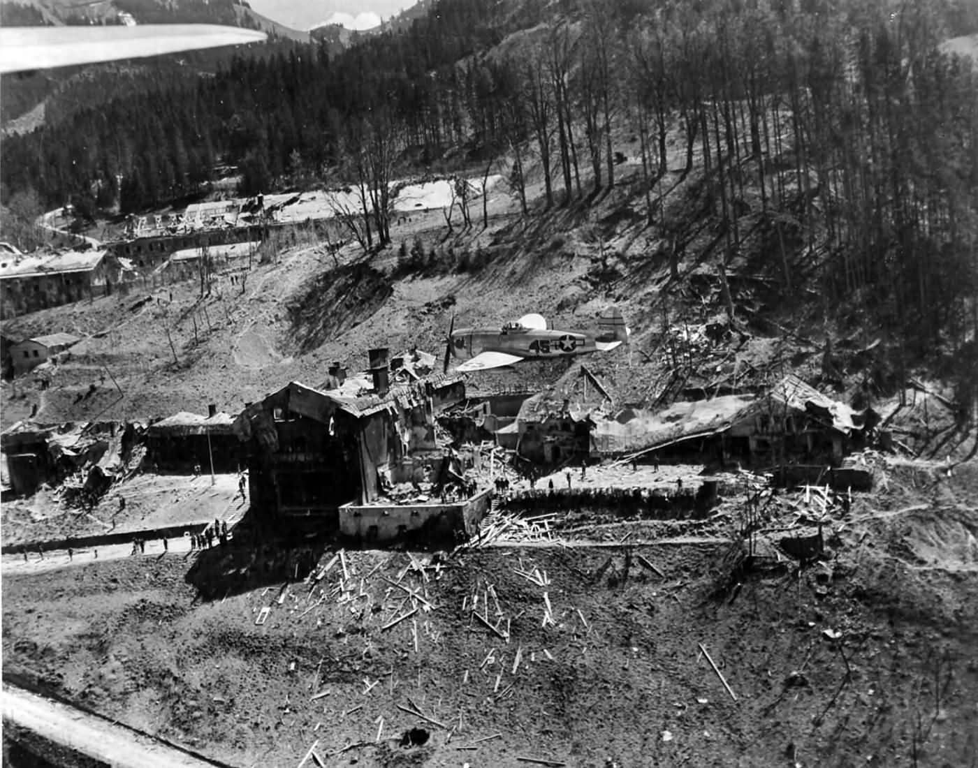 P-47 Thunderbolt over ruins of Berchtesgaden