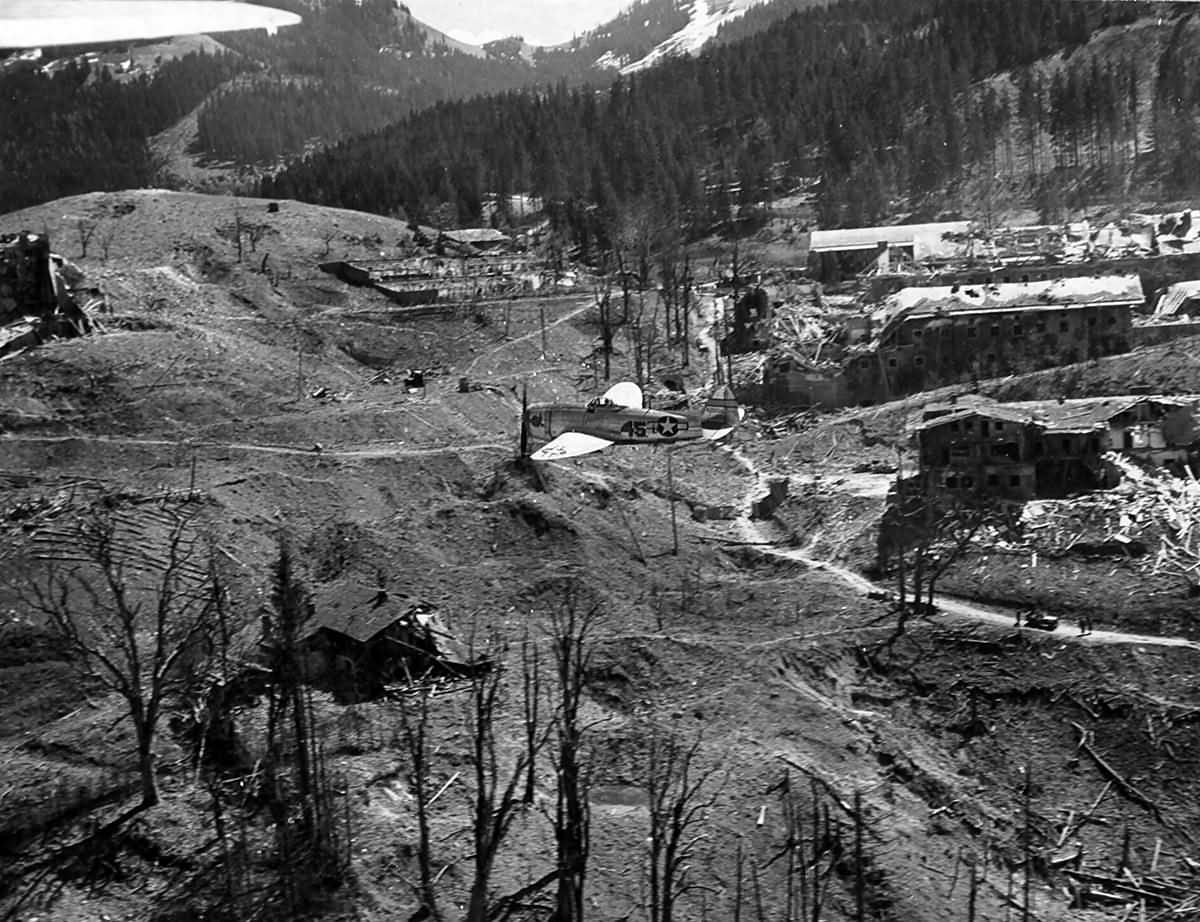 Republic P-47 Thunderbolt over ruins of Berchtesgaden