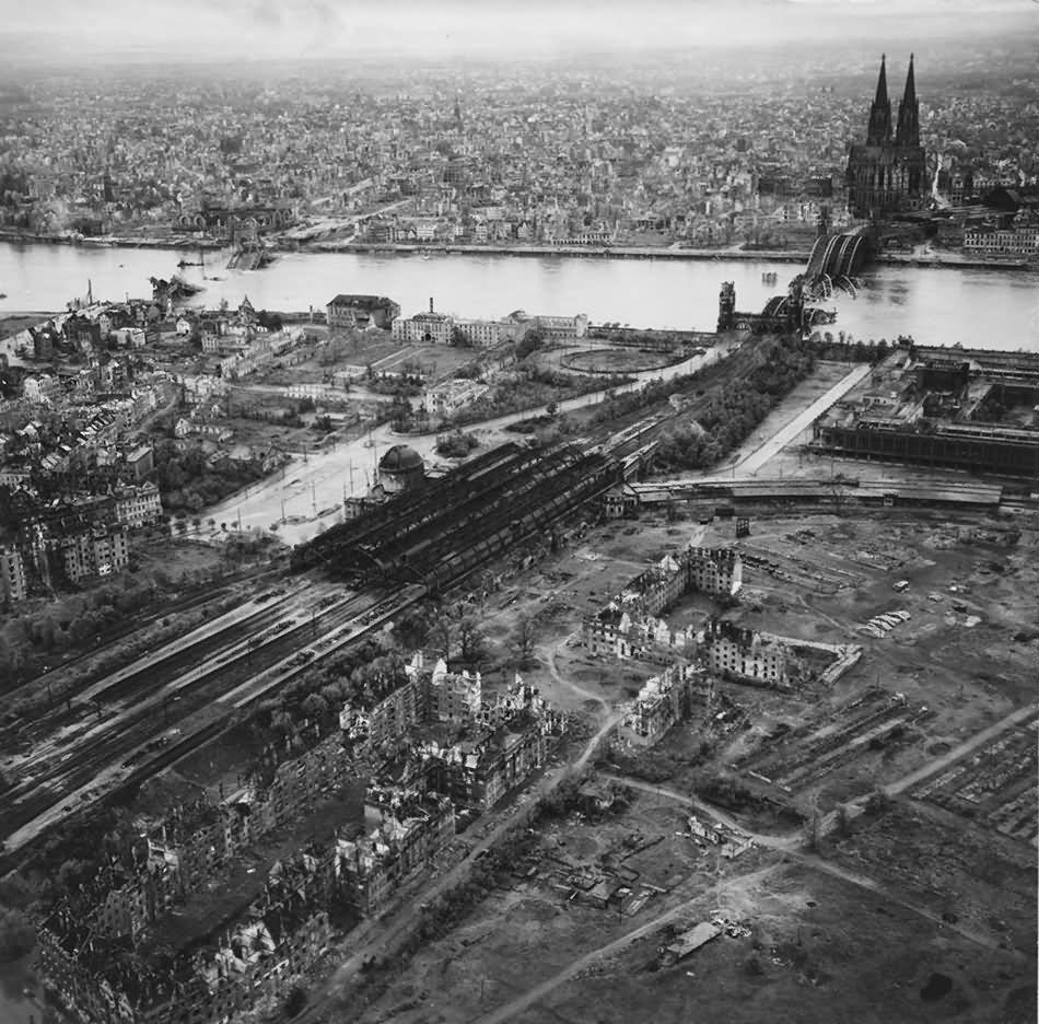 Ruins Of Koln Aerial View Bahnhof Deutz Hohenzollern brucke 1945