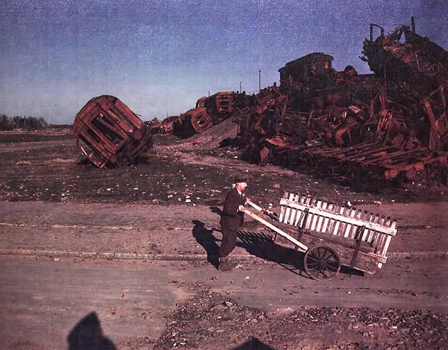 Ruins Of Upturned And Blasted Railroads Cars At Frankfurt 1945