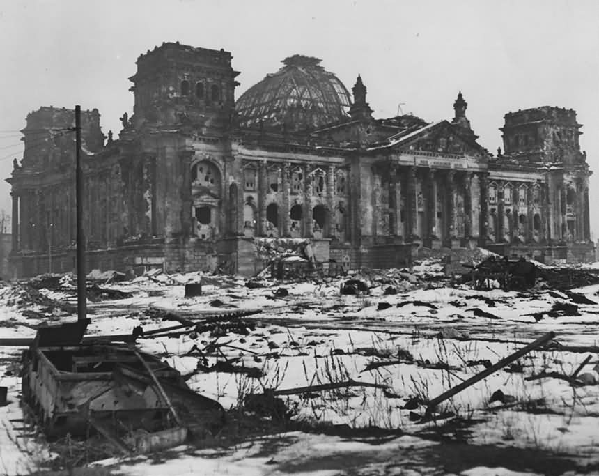 Ruins of Berlin Reichstag Sd.Kfz. 301 Borgward B IV 1945